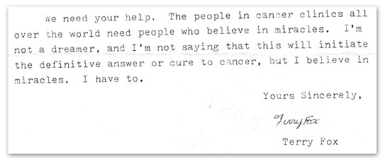 Letter from Terry Fox to Adidas (c/o The Star)